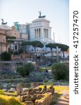 Small photo of ROME, ITALY - APRIL 8, 2016: Roman's forum with ruins of important ancient government buildings started 7th century BC and Altar of the Fatherland (Altare della Patria) at the background