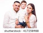A Happy Family On White...