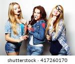 stylish sexy hipster girls best ... | Shutterstock . vector #417260170