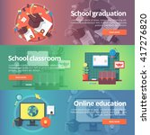 school graduation. cap and gown.... | Shutterstock .eps vector #417276820
