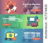 school graduation. cap and gown.... | Shutterstock .eps vector #417276820
