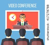 video conference flat... | Shutterstock .eps vector #417278788