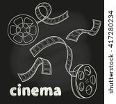 cinema set. doodle film reel... | Shutterstock .eps vector #417280234