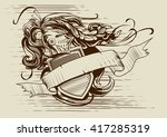 vintage illustration in... | Shutterstock .eps vector #417285319