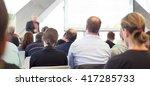 man giving presentation in...   Shutterstock . vector #417285733