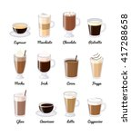 different coffee drinks... | Shutterstock .eps vector #417288658