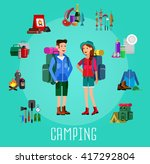 men and woman character camping ... | Shutterstock .eps vector #417292804