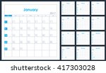 2017 year planner calendar blue ... | Shutterstock .eps vector #417303028