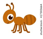 Cute Cartoon Ant. Happy Little...