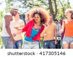 group of friends dancing at a... | Shutterstock . vector #417305146