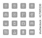 line travel icon set on gray...