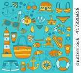 doodle beach and travel icons... | Shutterstock .eps vector #417330628