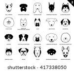 dog faces stroke monochrome... | Shutterstock .eps vector #417338050