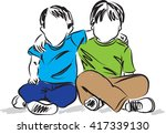 two boys sitting down friends... | Shutterstock .eps vector #417339130
