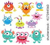 funny monsters vector... | Shutterstock .eps vector #417344560