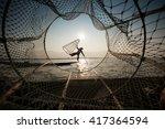 traditional burmese fishermen... | Shutterstock . vector #417364594