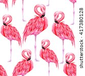 pink flamingos  beautiful... | Shutterstock .eps vector #417380128