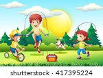 kids jumping rope in the park... | Shutterstock .eps vector #417395224