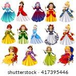 different characters of queens...   Shutterstock .eps vector #417395446