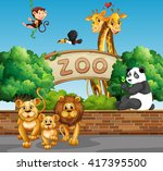 scene with wild animals at the... | Shutterstock .eps vector #417395500