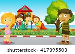 children playing in the park... | Shutterstock .eps vector #417395503