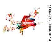 colorful piano with butterflies | Shutterstock .eps vector #417405568