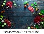 italian ham  prosciutto and... | Shutterstock . vector #417408454