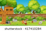 Stock vector five kittens playing in the garden illustration 417410284