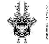 samurai cat. black and white... | Shutterstock .eps vector #417412714