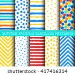blue red yellow white painted... | Shutterstock .eps vector #417416314