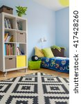corner of a blue teenager room... | Shutterstock . vector #417428260