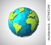 earth illustration in low poly... | Shutterstock .eps vector #417442144