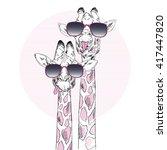 illustration of giraffes in... | Shutterstock .eps vector #417447820