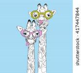 Illustration Of Giraffes In...