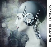 cyborg woman  abstract science... | Shutterstock . vector #417453940