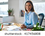single confident smiling woman... | Shutterstock . vector #417456808
