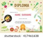 cooking school kids diploma... | Shutterstock .eps vector #417461638
