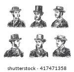 vintage gentleman portrait set. ... | Shutterstock .eps vector #417471358