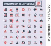 multimedia technology icons  | Shutterstock .eps vector #417471790