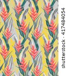 seamless tropical flower  plant ... | Shutterstock . vector #417484054