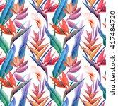 seamless tropical flower  plant ... | Shutterstock . vector #417484720