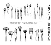 set of hand drawn brushes for... | Shutterstock .eps vector #417487288
