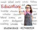 cute little girl wearing... | Shutterstock . vector #417488524