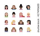 set of flat cute girls...   Shutterstock .eps vector #417490600