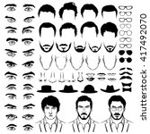 Constructor with men hipster haircuts, glasses, beards, mustaches. Man fashion. Vector illustration in flat style