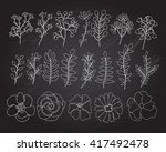 hand drawn floral elements set. ... | Shutterstock .eps vector #417492478