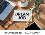 dream job open book on table... | Shutterstock . vector #417492994