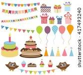 birthday party elements set....   Shutterstock . vector #417493240
