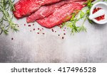 raw meat for grill  bbq or... | Shutterstock . vector #417496528