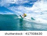 surfer with long white hair... | Shutterstock . vector #417508630